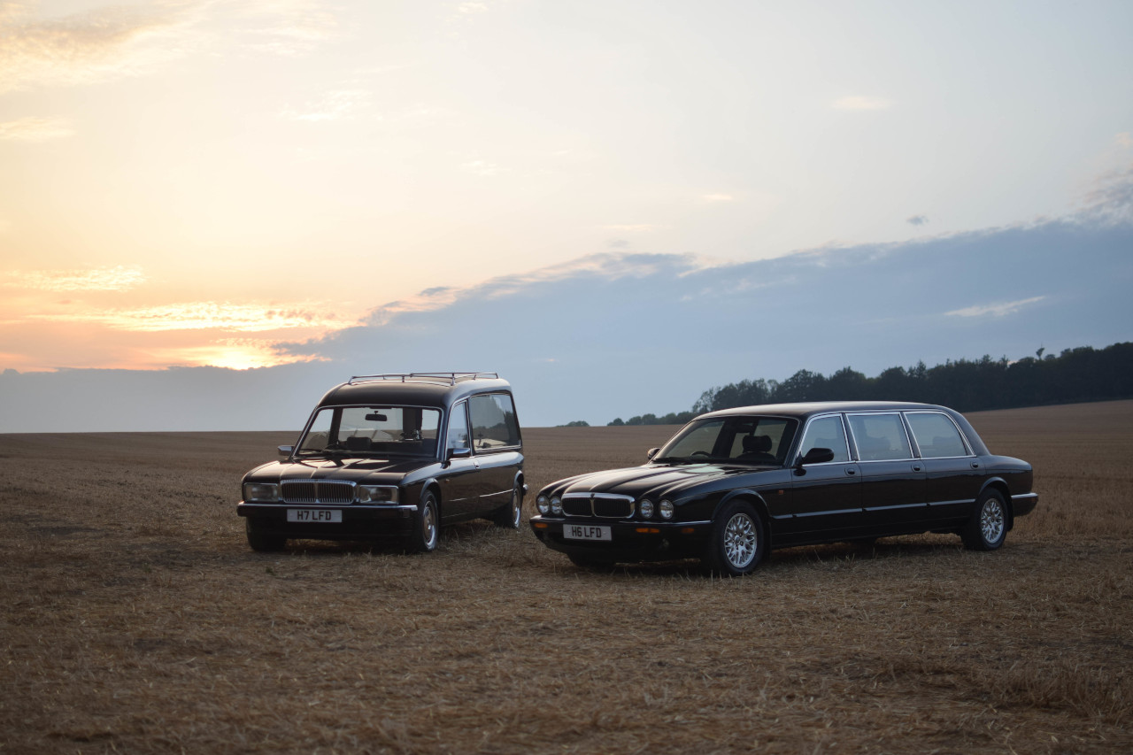 Country Funerals Hearse and Limousine in Field